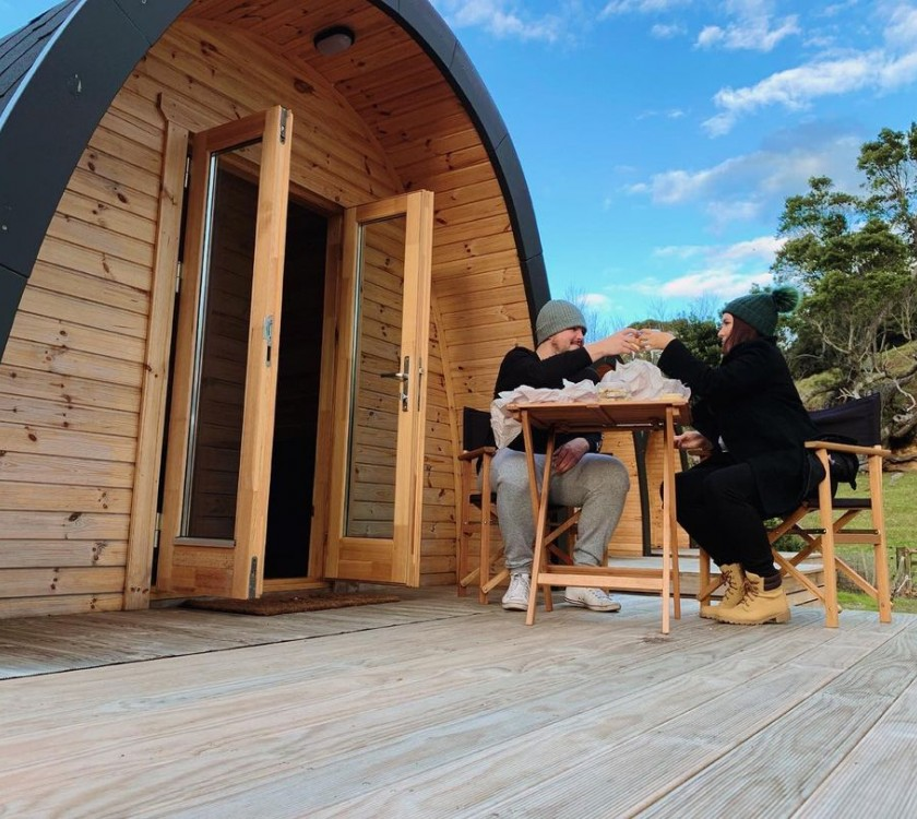 Beachfront glamping and dinner deal