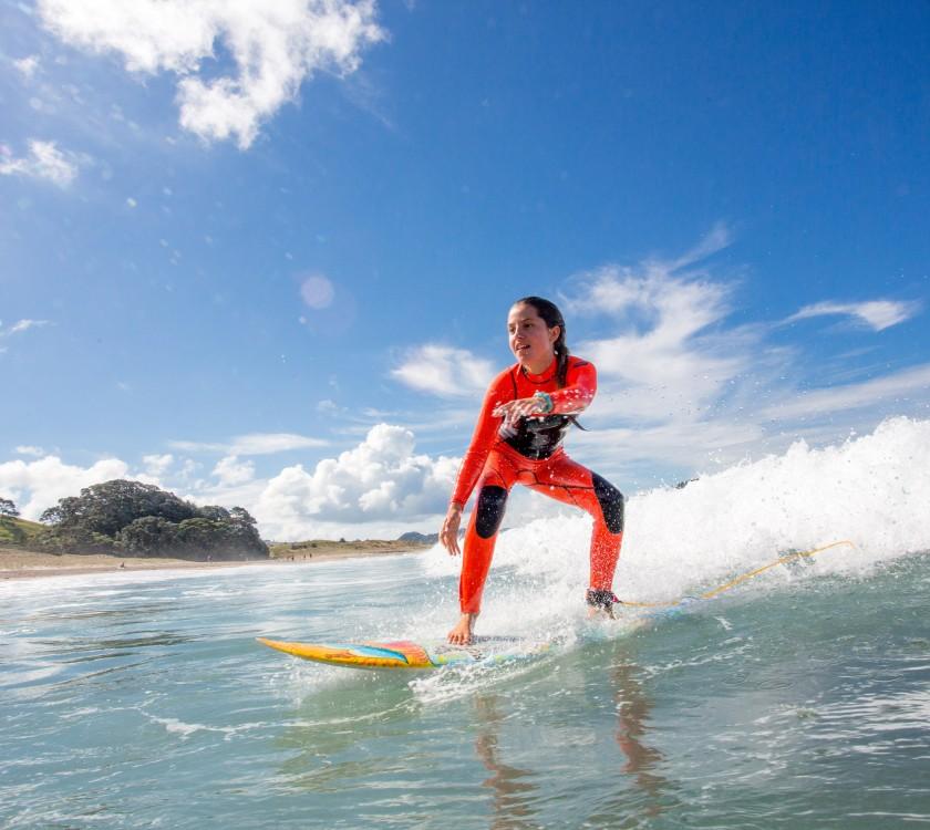Hot water beach surfing 6